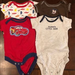 4 Boys Onesies size 0-3 Months   and 3 Months